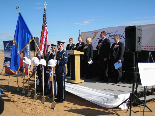 color guard at Legacy Traditional School groundbreaking