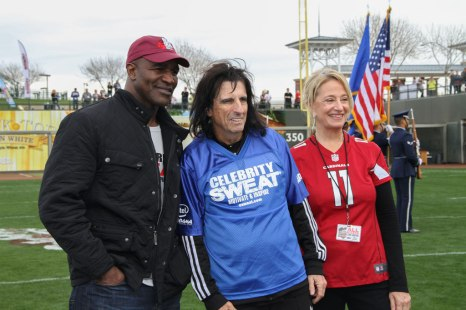 Evander Holyfield, Alice Cooper and Mayor Sharon Wolcott at the 14th Annual Celebrity Flag Football Challenge