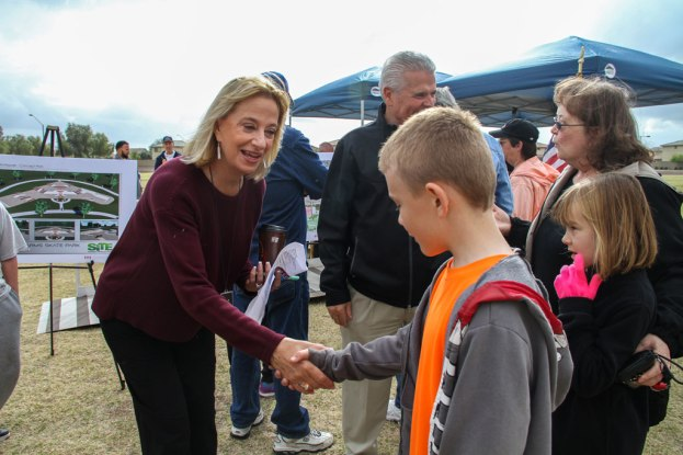 Mayor Wolcott greets community at Surprise Farms Park Groundbreaking