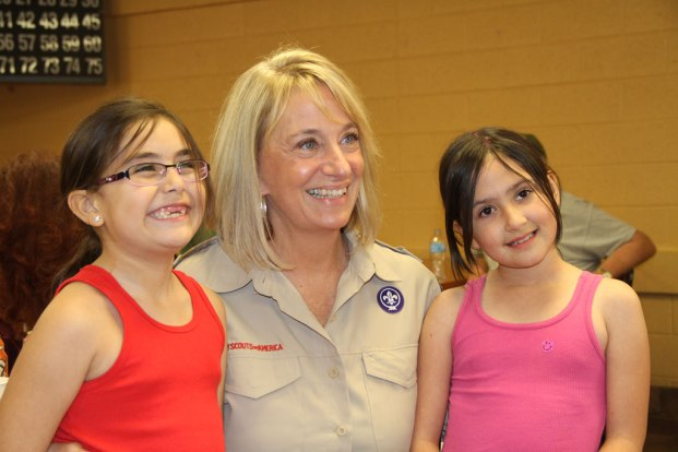 Mayor Wolcott and children at Community Center Open House